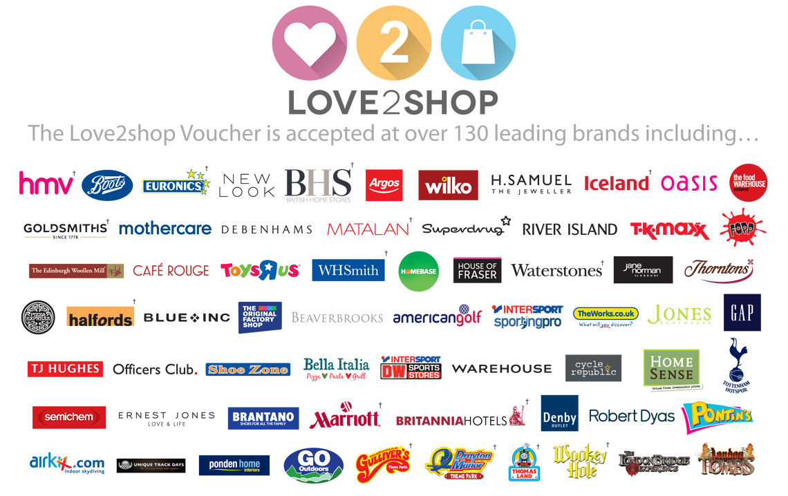Love2shop Vouchers are the nation's No.1 multi-retailer voucher and the ideal reward for employees or customers. Recipients can handpick a gift they'll love from over leading retailers and spend in more than 20, stores.
