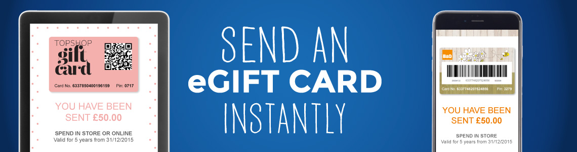 Send digital gifts instantly from great retailers