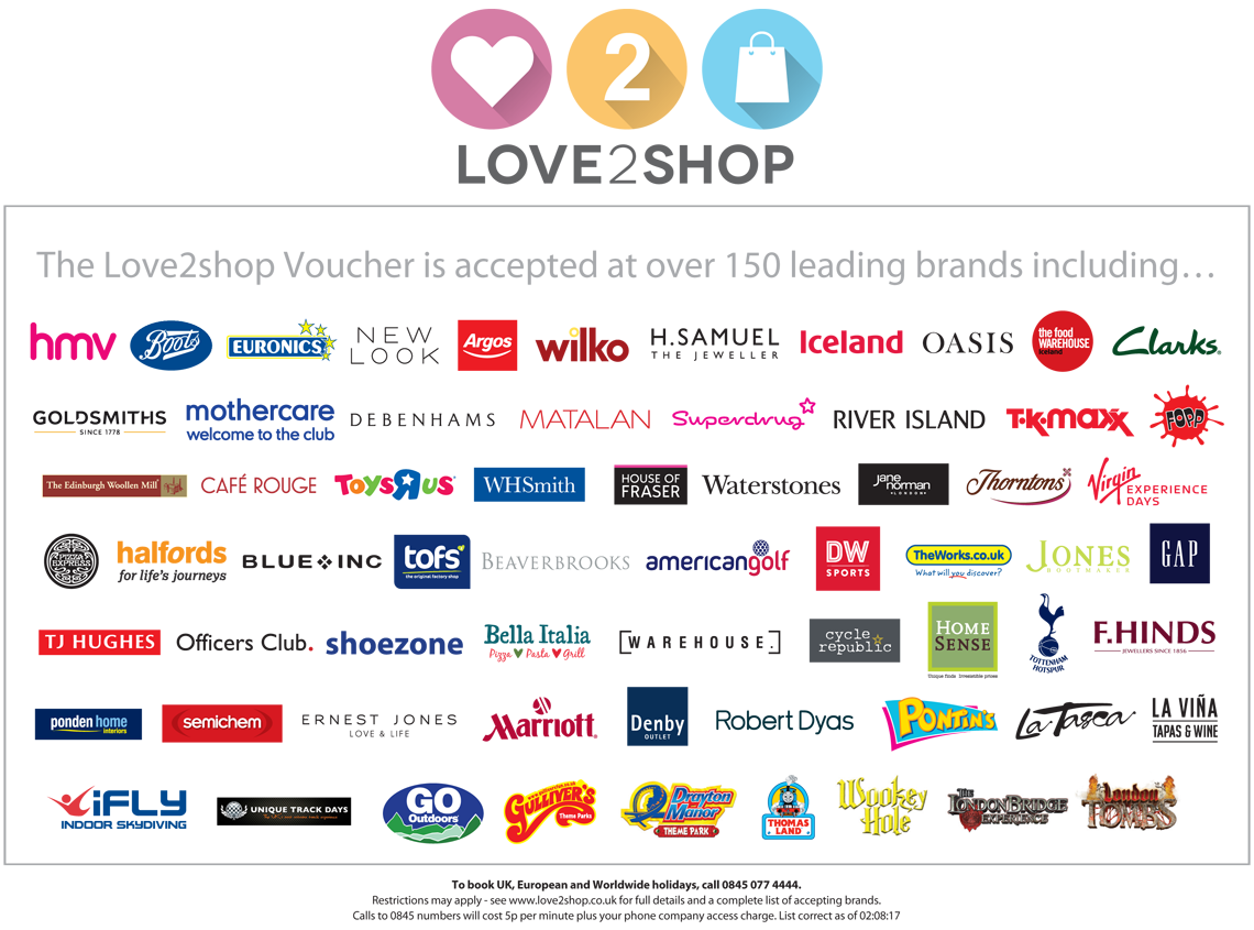 where can i use my love to shop vouchers
